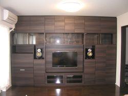 パソコンデスク付き壁面収納テレビボード木目タイプ